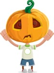 Cute Halloween Kid with Pumpkin Cartoon Vector Character - Being Scared