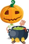 Cute Halloween Kid with Pumpkin Cartoon Vector Character - Cooking in a Caldron