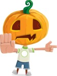 Cute Halloween Kid with Pumpkin Cartoon Vector Character - Finger Pointing with Angry Face