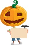 Cute Halloween Kid with Pumpkin Cartoon Vector Character - Holding Blank Presentation Sign for Halloween