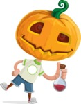 Cute Halloween Kid with Pumpkin Cartoon Vector Character - Holding Potion