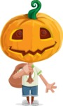 Cute Halloween Kid with Pumpkin Cartoon Vector Character - Holding Sack with Candies