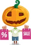 Cute Halloween Kid with Pumpkin Cartoon Vector Character - Holding Shopping Bags