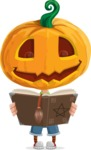 Cute Halloween Kid with Pumpkin Cartoon Vector Character - Making a Curse with a Book