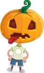 Cute Halloween Kid with Pumpkin Cartoon Vector Character - Making a Funny Face