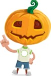 Cute Halloween Kid with Pumpkin Cartoon Vector Character - Making a Point
