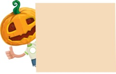 Cute Halloween Kid with Pumpkin Cartoon Vector Character - Making a Presentation on a Whiteboard