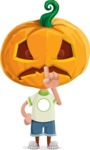 Cute Halloween Kid with Pumpkin Cartoon Vector Character - Making Quiet Sign with Hand