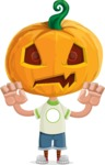 Cute Halloween Kid with Pumpkin Cartoon Vector Character - Making Scary Face