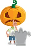 Cute Halloween Kid with Pumpkin Cartoon Vector Character - On a Grave