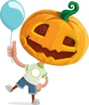 Cute Halloween Kid with Pumpkin Cartoon Vector Character - On a Party with a Balloon