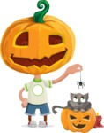 Cute Halloween Kid with Pumpkin Cartoon Vector Character - Playing With Cat on Halloween
