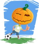 Cute Halloween Kid with Pumpkin Cartoon Vector Character - Playing with Landscape Background