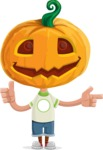 Cute Halloween Kid with Pumpkin Cartoon Vector Character - Pointing and Making Thumbs Up