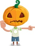 Cute Halloween Kid with Pumpkin Cartoon Vector Character - Pointing with a Finger