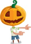 Cute Halloween Kid with Pumpkin Cartoon Vector Character - Pointing with Hands
