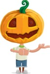 Cute Halloween Kid with Pumpkin Cartoon Vector Character - Presenting with Both Hands