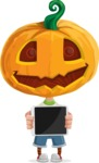 Cute Halloween Kid with Pumpkin Cartoon Vector Character - Showing on a Blank Tablet