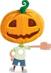 Cute Halloween Kid with Pumpkin Cartoon Vector Character - Showing with a Hand