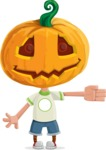 Cute Halloween Kid with Pumpkin Cartoon Vector Character - Showing witha Smile