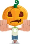 Cute Halloween Kid with Pumpkin Cartoon Vector Character - Stopping with Hands
