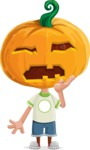 Cute Halloween Kid with Pumpkin Cartoon Vector Character - Tired and Yawning