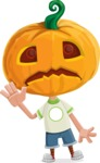 Cute Halloween Kid with Pumpkin Cartoon Vector Character - Waving for Goodbye with a Hand