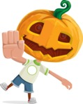 Cute Halloween Kid with Pumpkin Cartoon Vector Character - Waving for Welcome with a Hand