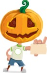 Cute Halloween Kid with Pumpkin Cartoon Vector Character - With a Blank Business Card