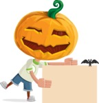 Cute Halloween Kid with Pumpkin Cartoon Vector Character - With a Blank Halloween Sign with a Bat