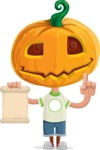 Cute Halloween Kid with Pumpkin Cartoon Vector Character - With a Blank Scroll