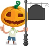 Cute Halloween Kid with Pumpkin Cartoon Vector Character - With a Blank Vintage Street Sign