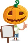 Cute Halloween Kid with Pumpkin Cartoon Vector Character - With a Blank Wood Sign