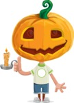 Cute Halloween Kid with Pumpkin Cartoon Vector Character - With a Candle