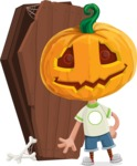Cute Halloween Kid with Pumpkin Cartoon Vector Character - With a Coffin