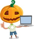 Cute Halloween Kid with Pumpkin Cartoon Vector Character - With a Computer