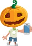Cute Halloween Kid with Pumpkin Cartoon Vector Character - With a Phone