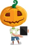 Cute Halloween Kid with Pumpkin Cartoon Vector Character - With a Tablet