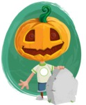 Cute Halloween Kid with Pumpkin Cartoon Vector Character - With a Watercolor Background