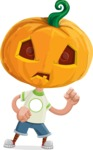 Cute Halloween Kid with Pumpkin Cartoon Vector Character - With Angry Face