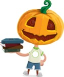 Cute Halloween Kid with Pumpkin Cartoon Vector Character - With Books