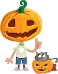 Cute Halloween Kid with Pumpkin Cartoon Vector Character - With Cat