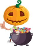 Cute Halloween Kid with Pumpkin Cartoon Vector Character - with Cauldron full of Sweets