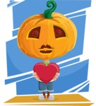 Cute Halloween Kid with Pumpkin Cartoon Vector Character - With Colorful Background