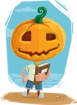 Cute Halloween Kid with Pumpkin Cartoon Vector Character - With Cool Simple Style Background
