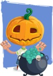 Cute Halloween Kid with Pumpkin Cartoon Vector Character - With Cute Background