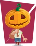 Cute Halloween Kid with Pumpkin Cartoon Vector Character - With Flat Background
