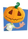 Cute Halloween Kid with Pumpkin Cartoon Vector Character - With Flat Shape Background