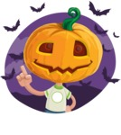 Cute Halloween Kid with Pumpkin Cartoon Vector Character - With Halloween Background with Bats