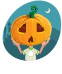 Cute Halloween Kid with Pumpkin Cartoon Vector Character - With Night Background